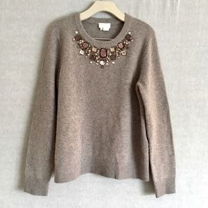 Kate Spade Jeweled Neckline Taupe Sweater